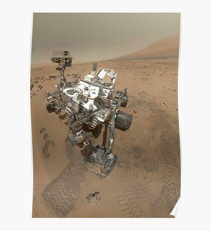 Selbstporträt von Curiosity Rover im Gale Krater auf der Oberfläche des Mars. Poster
