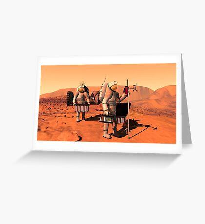 Das Konzept des Künstlers von den Astronauten, die Wetterüberwachungsausrüstung auf Mars errichten. Grußkarte