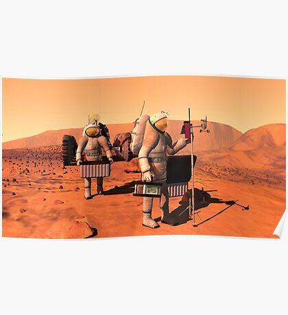 Das Konzept des Künstlers von den Astronauten, die Wetterüberwachungsausrüstung auf Mars errichten. Poster