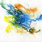 Blue, orange and yellow abstract by Simon Rudd