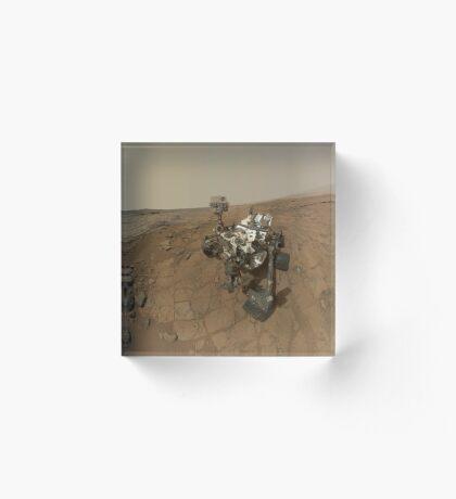 Selbstporträt von Curiosity Rover auf der Oberfläche des Mars. Acrylblock