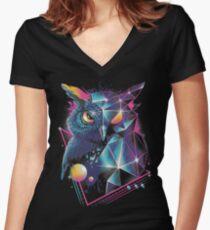 Rad Owl Women's Fitted V-Neck T-Shirt