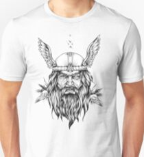 Odin with Hugin and Munin skulls Unisex T-Shirt