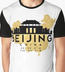 BEIJING CHINA SILHOUETTE SKYLINE MAP ART  Graphic T-Shirt