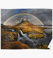 Rainbow over Kirkjufell Poster