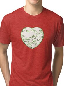 Stylised Green & White Heart Tri-blend T-Shirt