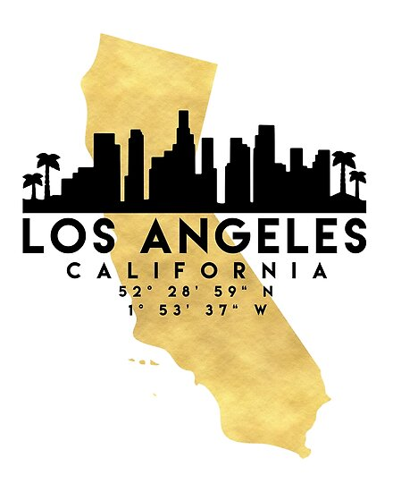 Los angeles california silhouette skyline map art posters by los angeles california silhouette skyline map art by deificusart publicscrutiny Choice Image
