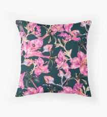 Gray and Pink Tropical Floral by Grand Reverie Throw Pillow