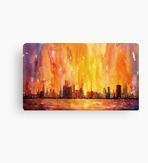 Sunrise- Chicago, IL watercolor painting Canvas Print