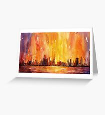 Sunrise- Chicago, IL watercolor painting Greeting Card