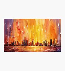 Sunrise- Chicago, IL watercolor painting Photographic Print