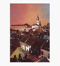 Watercolor painitng of Cesky Krumlov at sunset- Czech Republic Photographic Print
