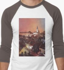 Watercolor painitng of Cesky Krumlov at sunset- Czech Republic Men's Baseball ¾ T-Shirt