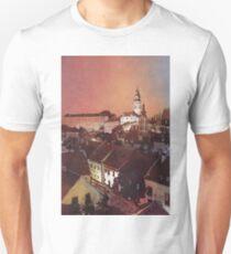 Watercolor painitng of Cesky Krumlov at sunset- Czech Republic T-Shirt