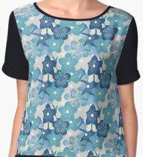 Blue flowers pattern Chiffon Top