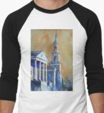 Watercolor painting of church in Cary, NC Men's Baseball ¾ T-Shirt