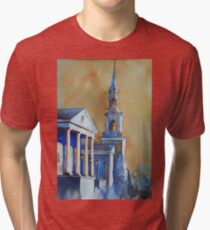 Watercolor painting of church in Cary, NC Tri-blend T-Shirt