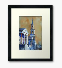 Watercolor painting of church in Cary, NC Framed Print