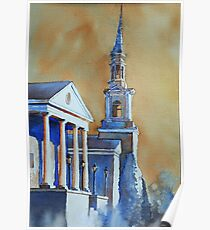 Watercolor painting of church in Cary, NC Poster