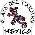 PLAYA DEL CARMEN MEXICO LIZARD GECKO TROPICAL HIBISCUS FLOWER COLORFUL RAINBOW TROPICAL BEACH 2 by MyHandmadeSigns
