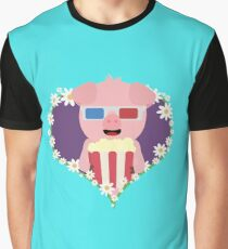 Cinema Pig with flower heart Graphic T-Shirt