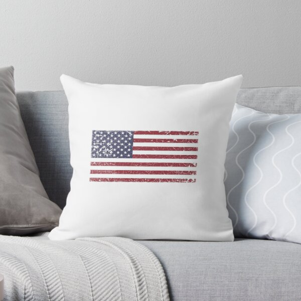 Vintage Look Stars and Stripes American Flag Throw Pillow