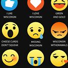 I Love Wisconsin Funny Emojis Emoticons Graphic Tee Shirts by DesIndie