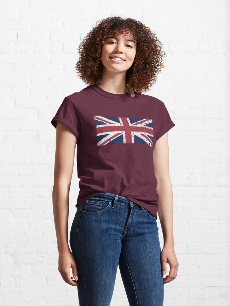 Alternate view of Vintage look Union Jack Flag of Great Britain Classic T-Shirt