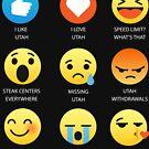 I Love Utah Fifty Nifty United States Emoji Emoticon Graphic Tee Shirt by DesIndie
