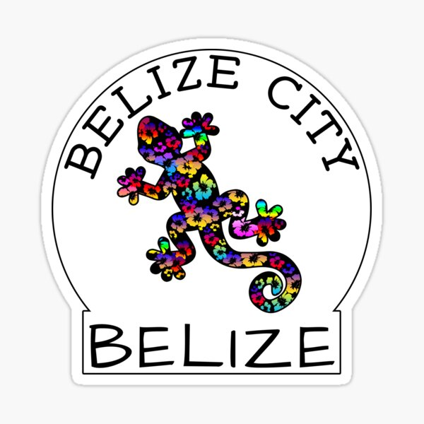 BELIZE CITY BELIZE TROPICAL LIZARD HIBISCUS CARIBBEAN SEA TRAVEL DECAL Sticker