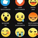 I Love South Dakota Fifty Nifty United States Emoji Emoticon Graphic Tee Shirt by DesIndie