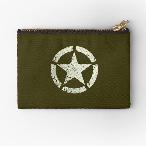 Vintage Look US Army White Star Emblem Zipper Pouch