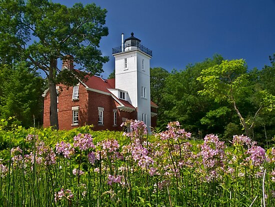 Flowers at the Light - Michigan by Kathy Weaver