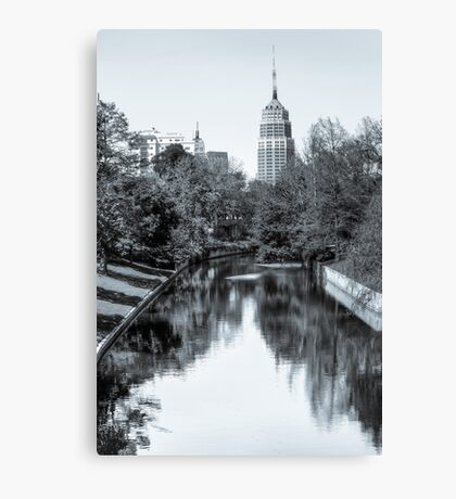 Downtown San Antonio Skyline From the River in Black and White Canvas Print
