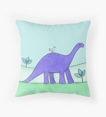 Purple Diplodocus Dinosaur Throw Pillow