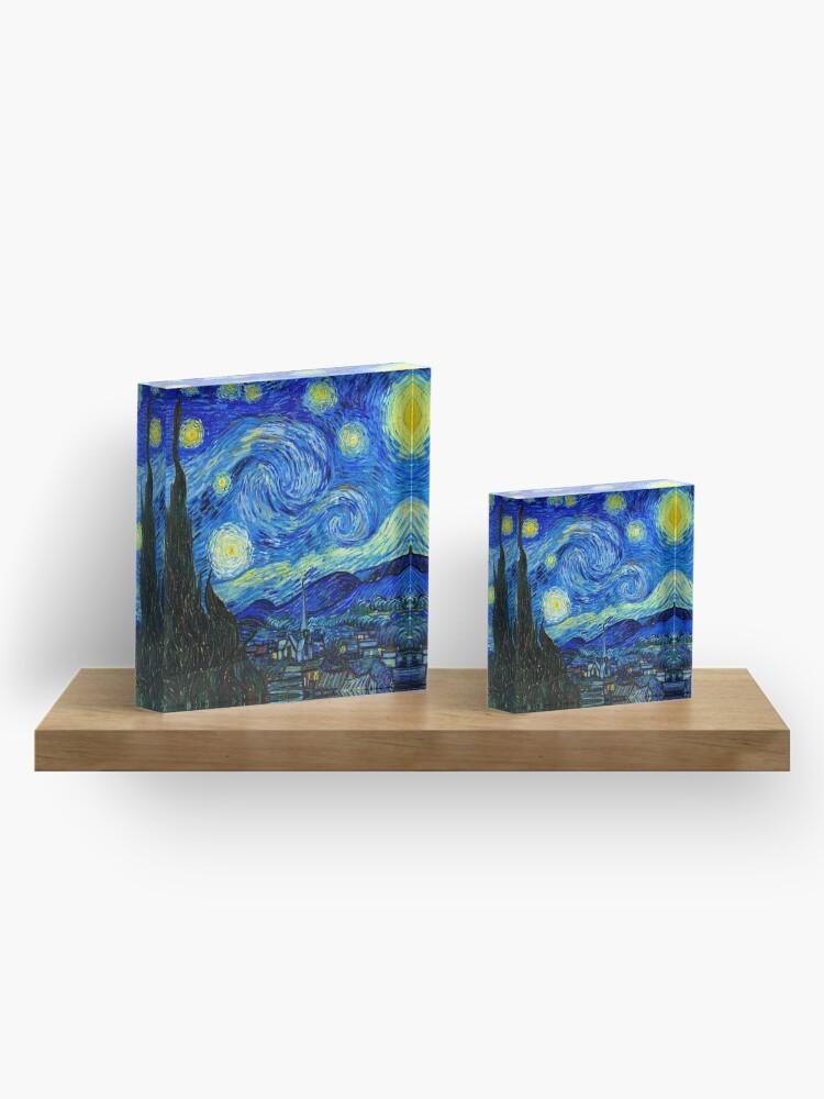 Alternate view of Starry Night by Van Gogh Acrylic Block
