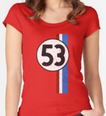 Vintage Look 53 Car Race Number Graphic Women's Fitted Scoop T-Shirt