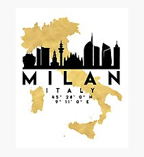 MILAN ITALY SILHOUETTE SKYLINE MAP ART Photographic Print