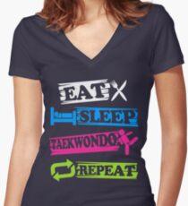 Eat Sleep Taekwondo Repeat - Korean Martial Art  Women's Fitted V-Neck T-Shirt