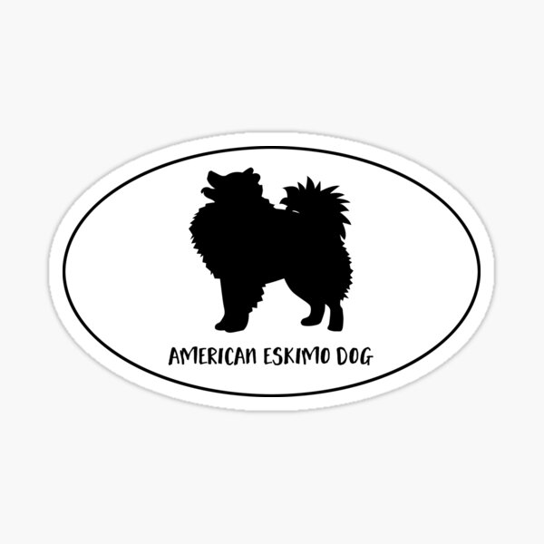 American Eskimo Dog Classic Silhouette Oval Sticker Sticker