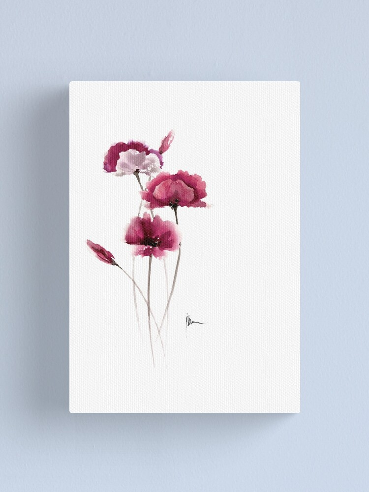 Flowers Ideas For Kitchen Pink Poppies Painting Canvas Print By Asiaszmerdt Redbubble