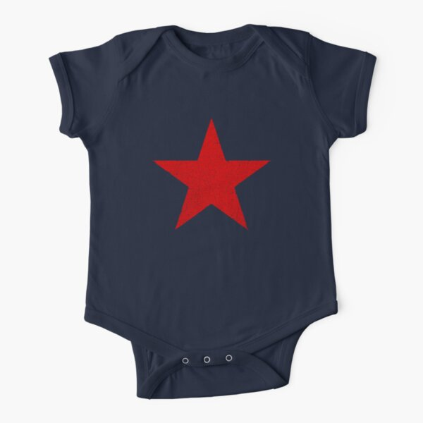 Vintage Look Russian Red Star Short Sleeve Baby One-Piece