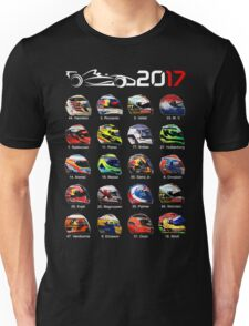 Formula 1 2017 drivers helmets all Unisex T-Shirt