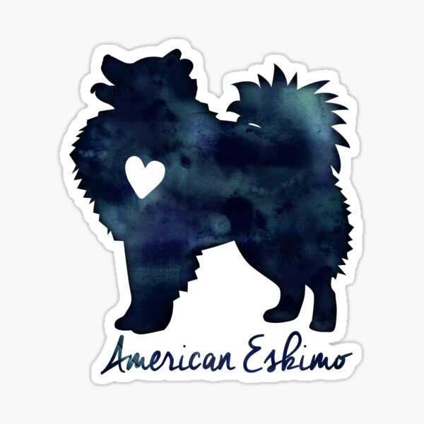 American Eskimo Dog Breed Black Watercolor Silhouette with Text Sticker