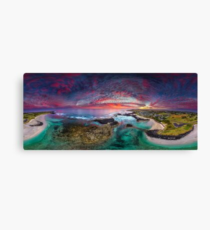 Port Fairy Drone Panoramic Sunset Canvas Print