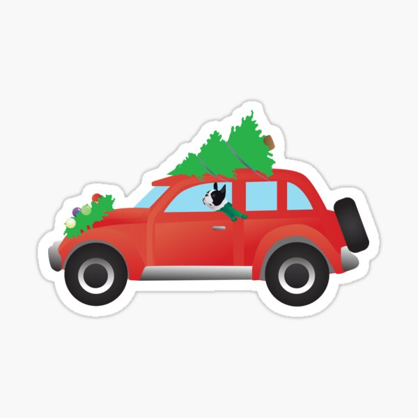 Black Boston Terrier Driving a Red Car with Christmas Tree on Top Sticker