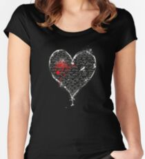 Bleeding Pen and Ink Heart of Love Women's Fitted Scoop T-Shirt