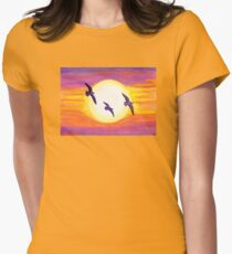Seagulls Flying Over Flagler Beach Womens Fitted T-Shirt