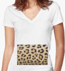 Leopard Pattern Background - Rosette of Beautiful Wonder Women's Fitted V-Neck T-Shirt