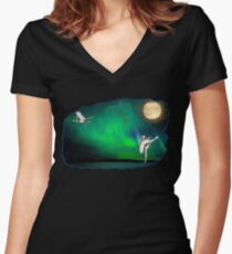 Aurora ballerina in the moon light Women's Fitted V-Neck T-Shirt